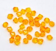 100 Orange Faceted Bicone Acrylic Spacer Beads 8x8mm,